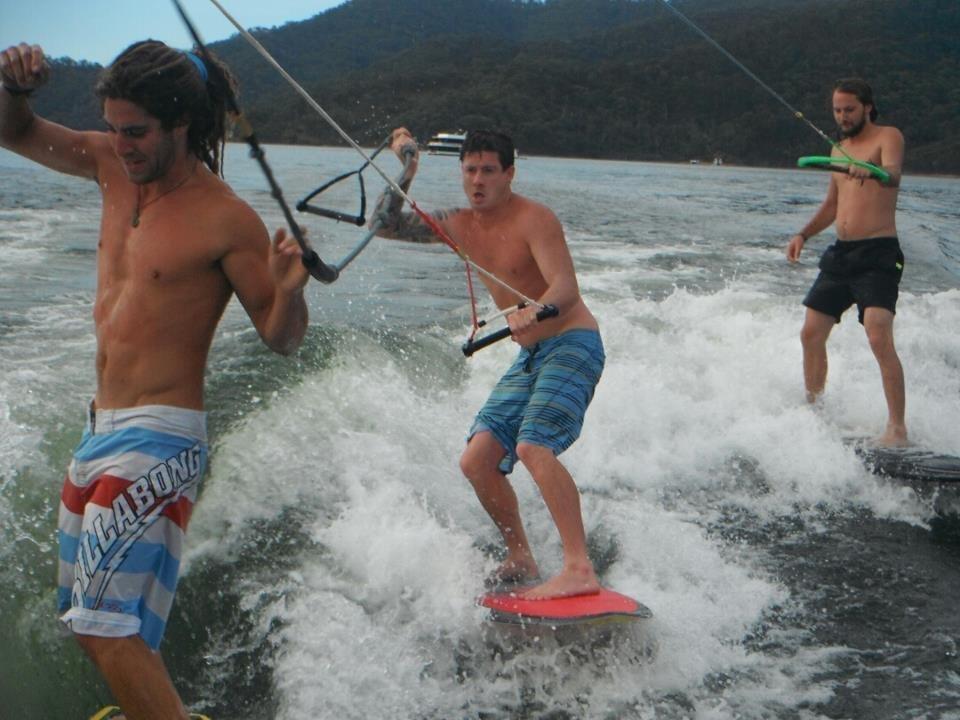 Young boys enjoying surfing