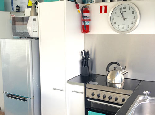 View of the houseboat kitchen