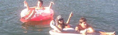 People enjoying in the lake