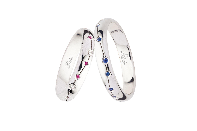 anelli con puntini rossi e blu