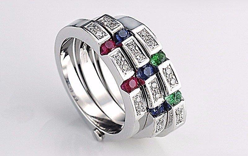 Anello Gianni Carità oro bianco, diamanti, smeraldi, rubini e zaffiri Codice: FA1534/ZRS