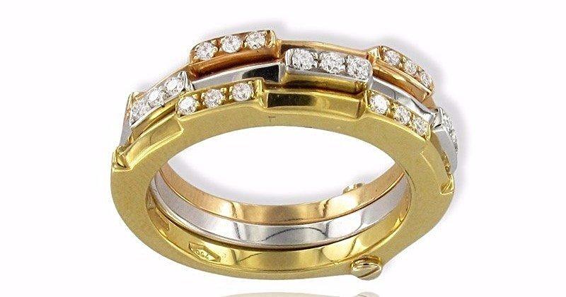 Anello Gianni Carità oro bianco, giallo e rosa con diamanti Codice: FA1464