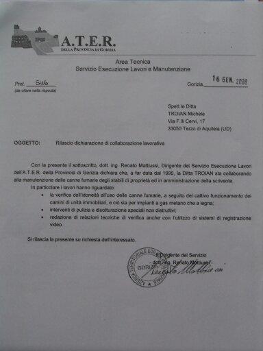 attestato di collaborazione con ATER Gorizia