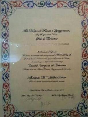iscrizione ad Honorem del maestro spazzacamino michele troian