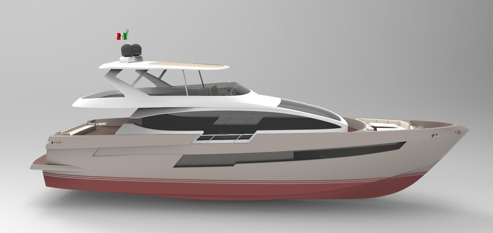 Barca con striscia rossa