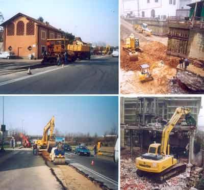 un collage riguardante delle scavatrici in azione e delle opere di asfaltazione