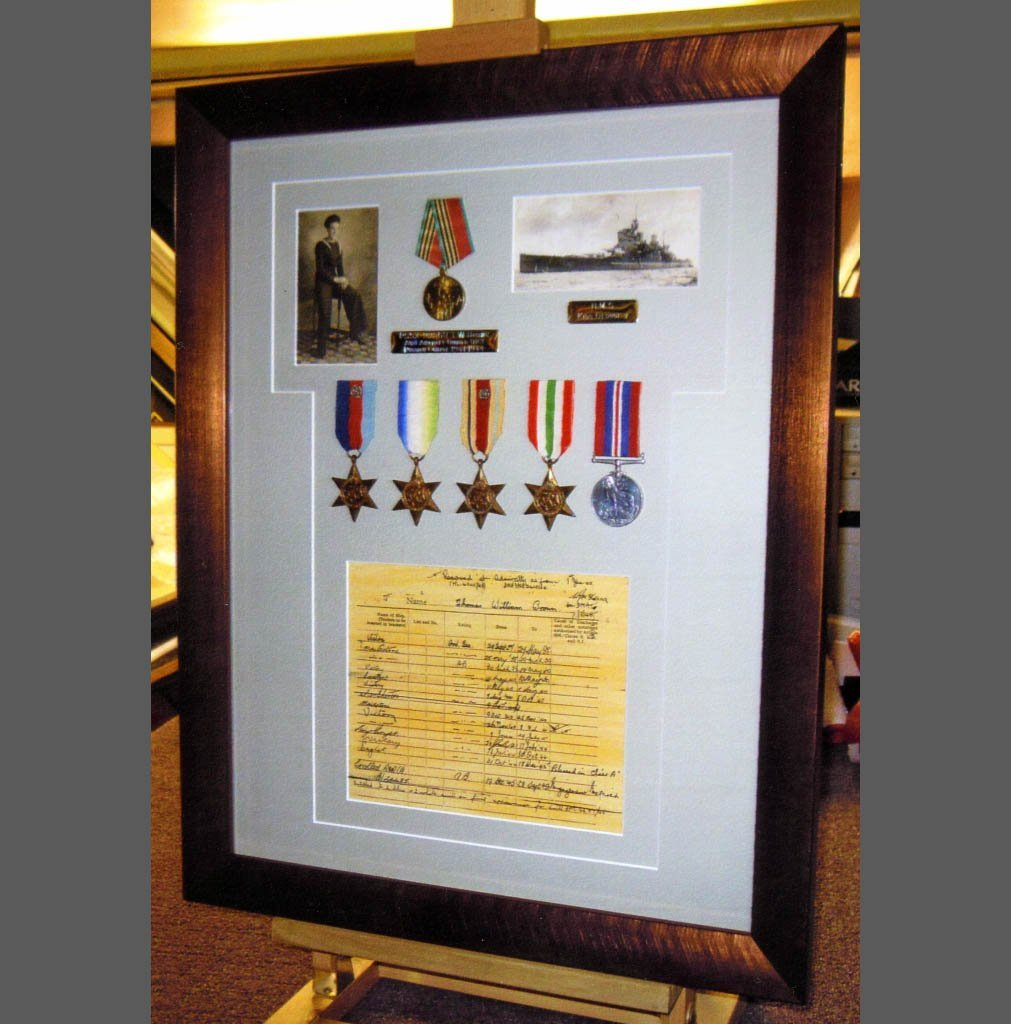 Certificate and medal framing