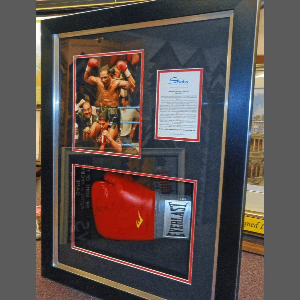 boxing gloves and pictures framed