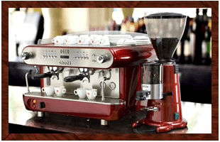 A red coffee machine