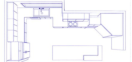 M & M Kitchens & Joinery cad top view