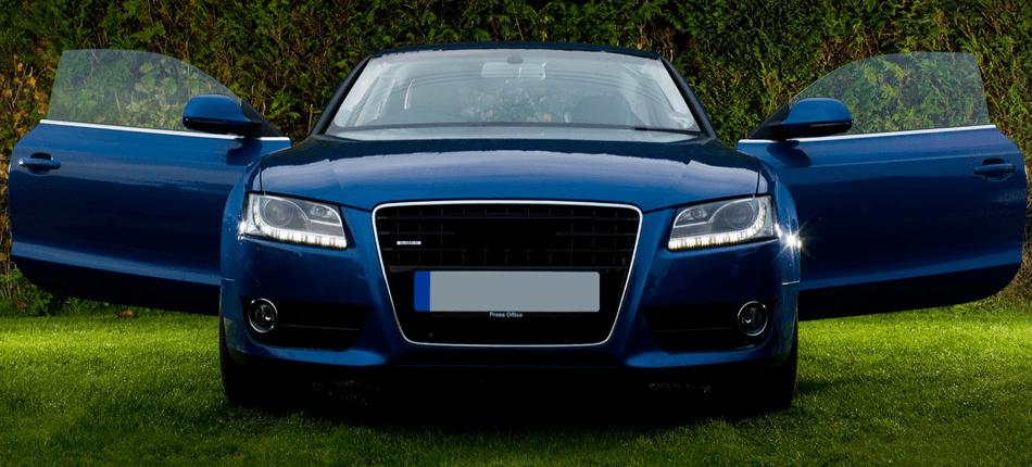A blue prestige car