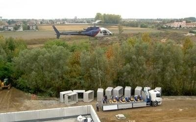 progettazione impianti di sollevamento con un elicottero