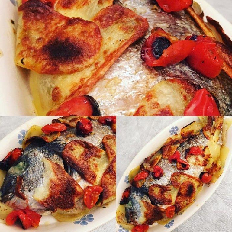 Orata al forno in crosta di patate e pomodorini