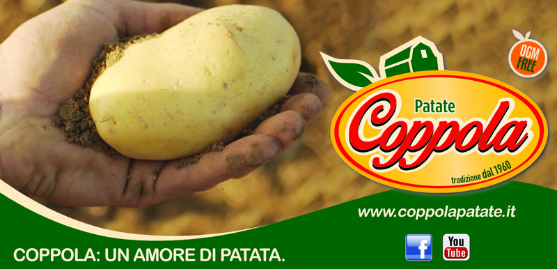 banner pubblicitario  uomo tiene in mano una patata