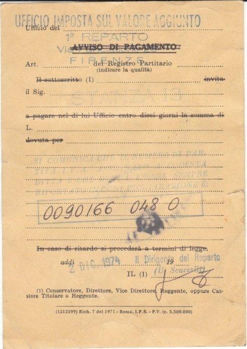 Retro della cartolina di attribuzione della partita iva 02 decembre 1974