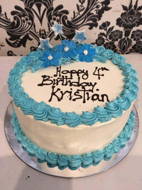 happy birthday cake blue white