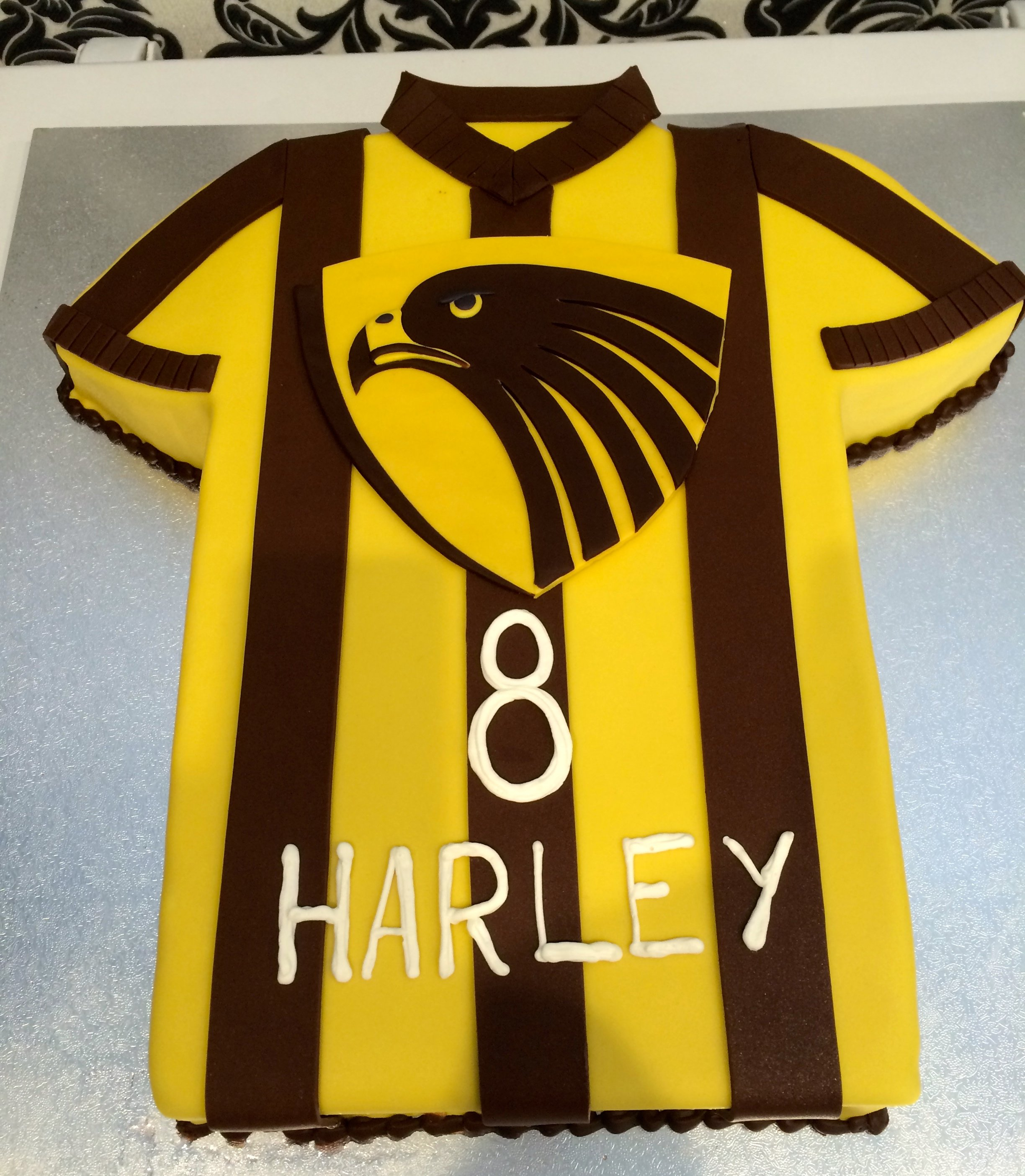 custom yellow and brown soccer jersey cake