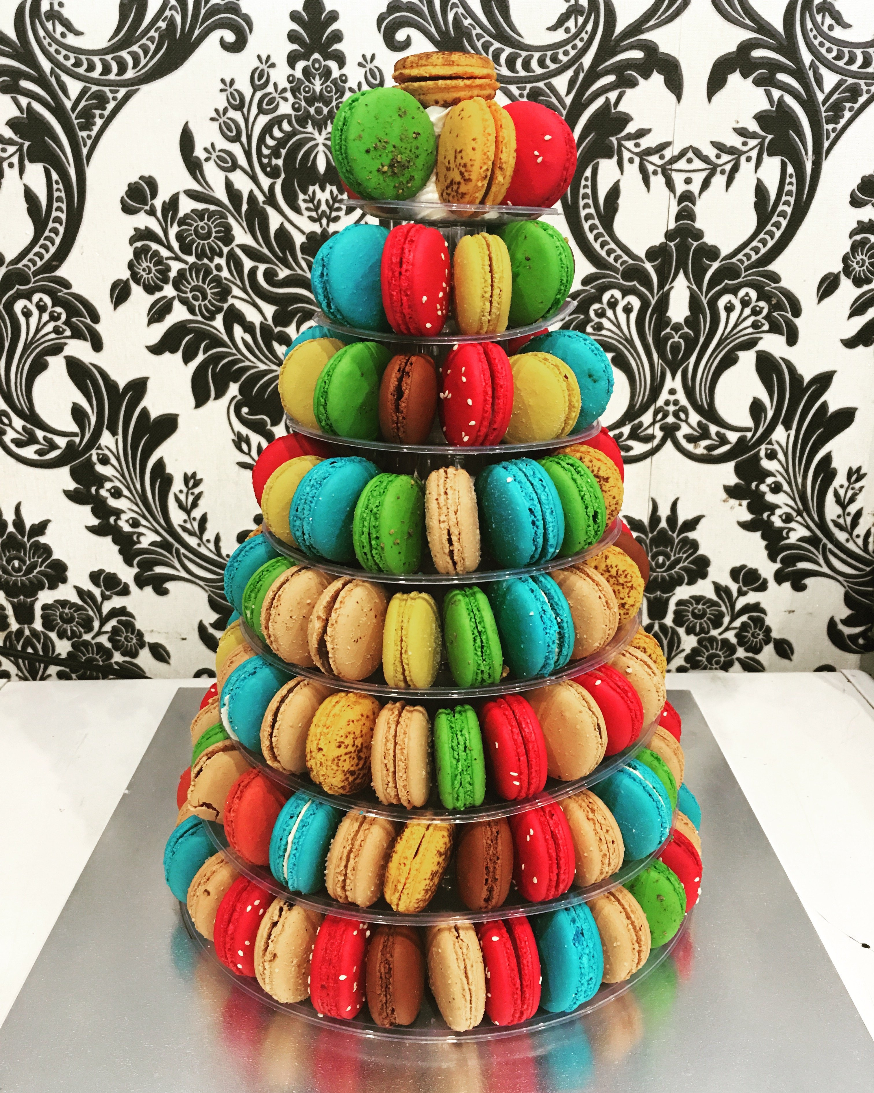 tower made of multi coloured macarons
