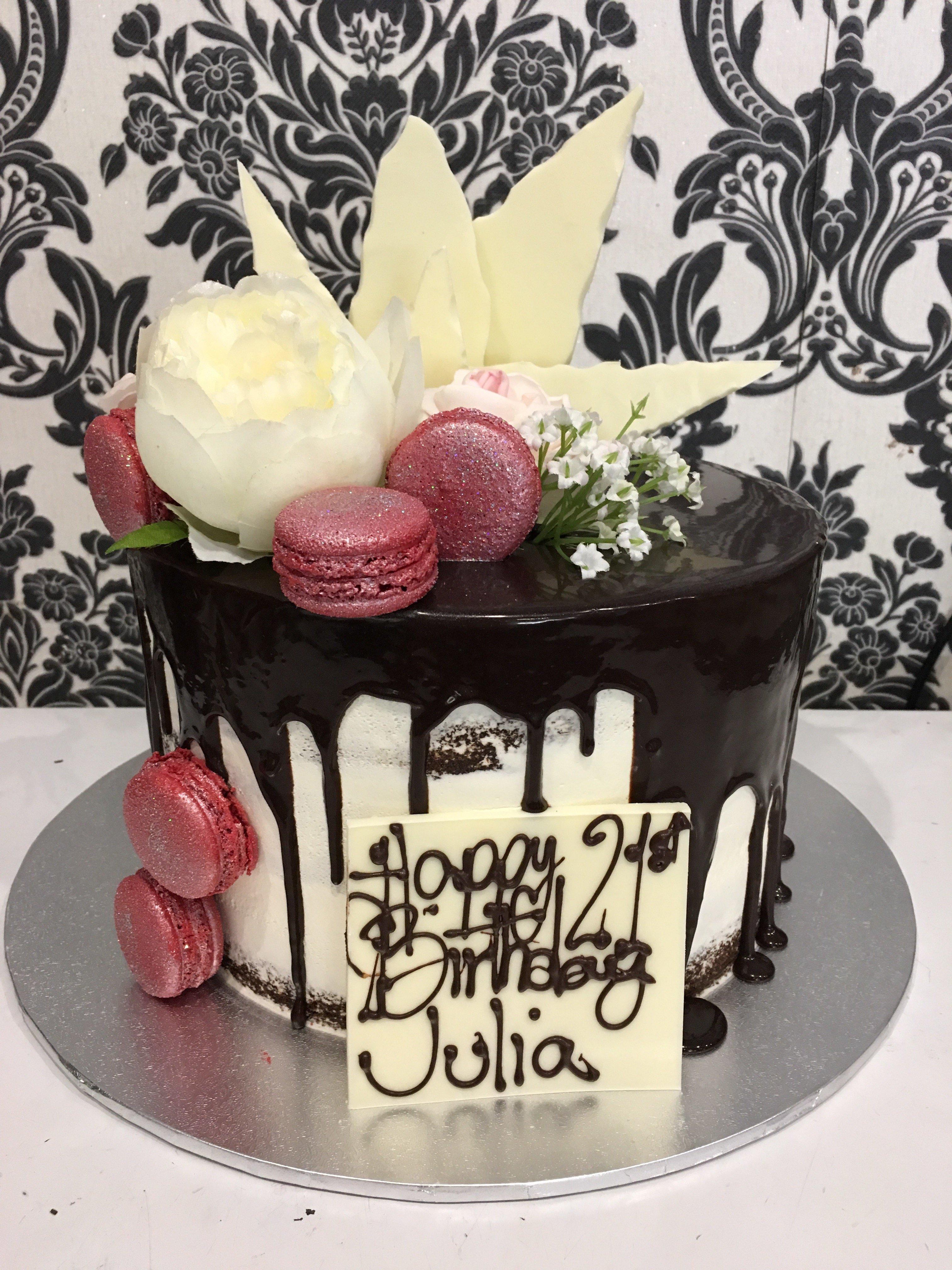 happy birthday naked drip cake