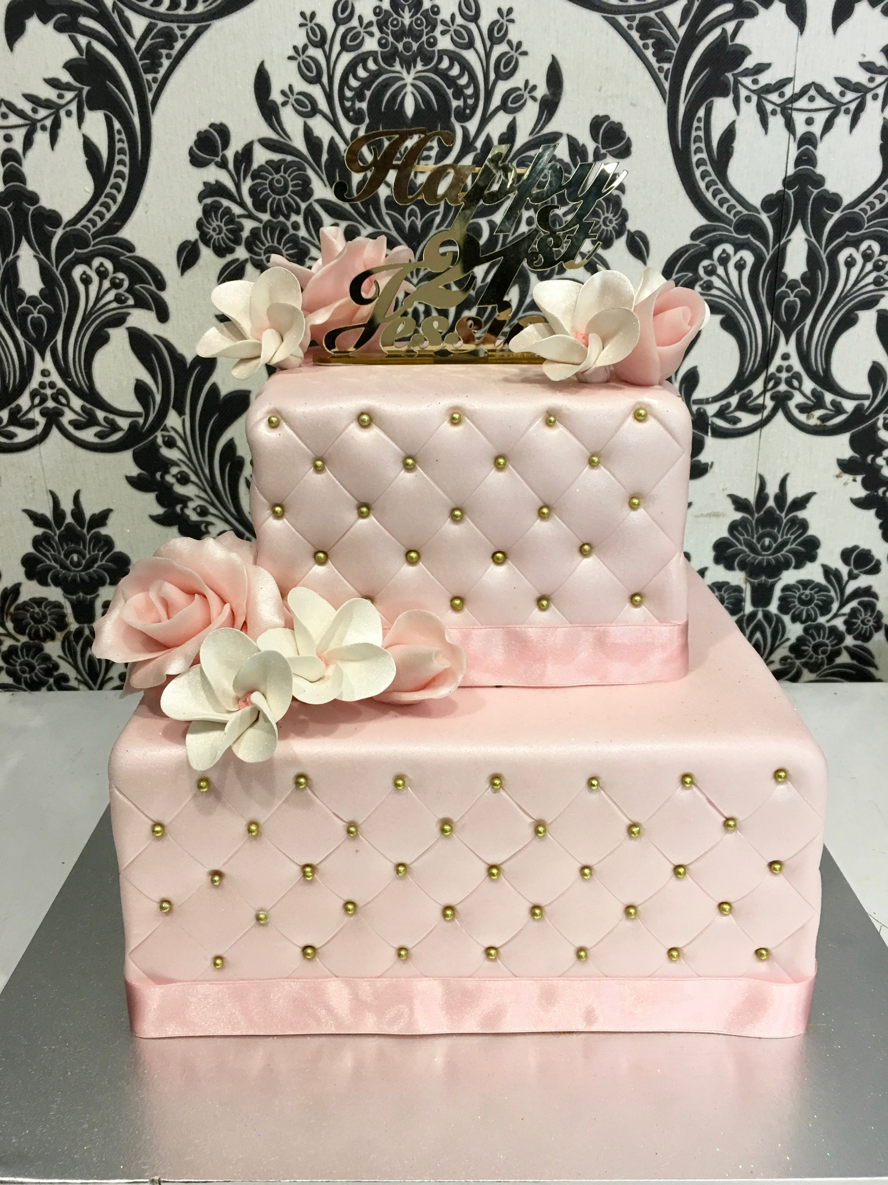 double stack pink cake with pillow effect