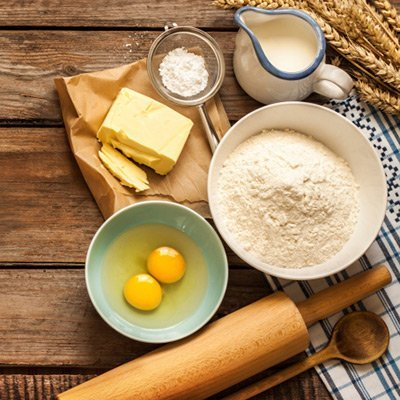 Cake ingredients including eggs and flour