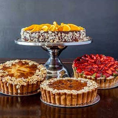 Selection of tea cakes on trays