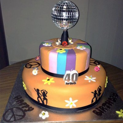 40th birthday cake with disco ball