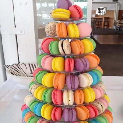Tower of different flavoured macarons