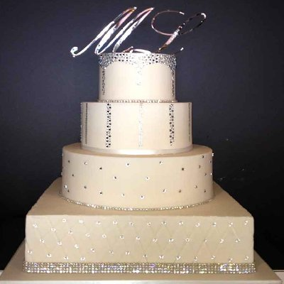 Four layer wedding cake with letters and diamantes