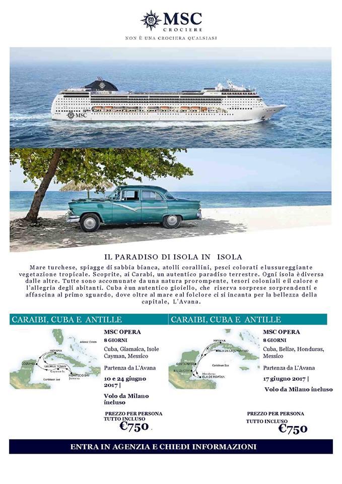 Locandina offerta last minute con MSC Crociere per un viaggio ai caraibi, cuba e antille