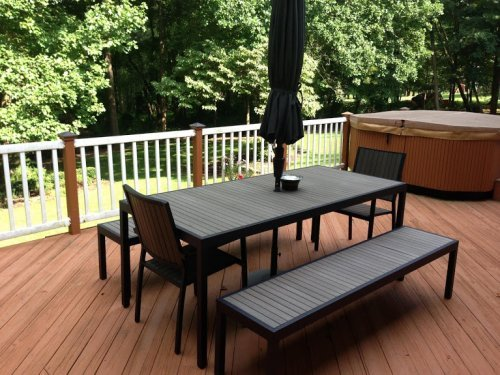 outdoor benches and rectangle table