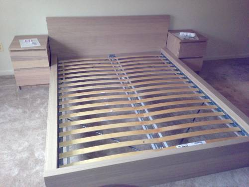 IKEA Malm bed frame with Malm nightstands assembly service in Fairfax VA