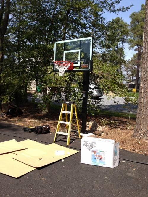 Mammoth 60 in. Glass Outdoor Basketball Hoop In-Ground Installation in Potomac MD by Any Assembly Team