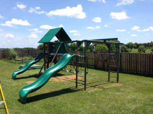 The Lifetime's Double Slide Deluxe playset Backyard Swing Play Set assembly service in Washington DC