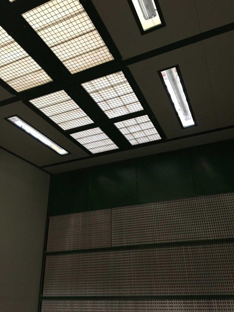 Cabina verniciatura polveri PVC - particolare tetto