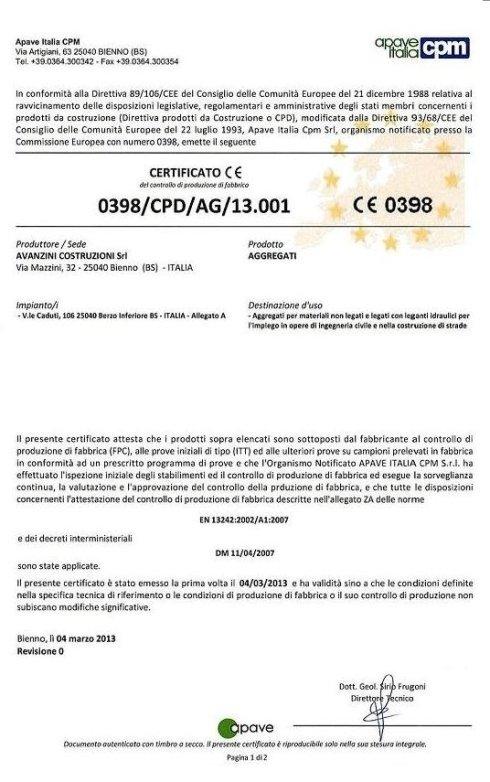 Certificato FPC