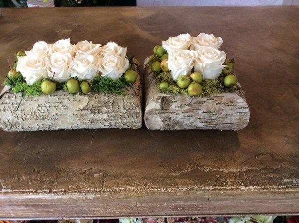 composizione rose bianche vaso