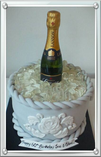 Champagne in Ice Bucket Cake