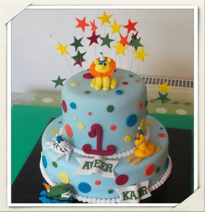 Animal First Birthday Cake