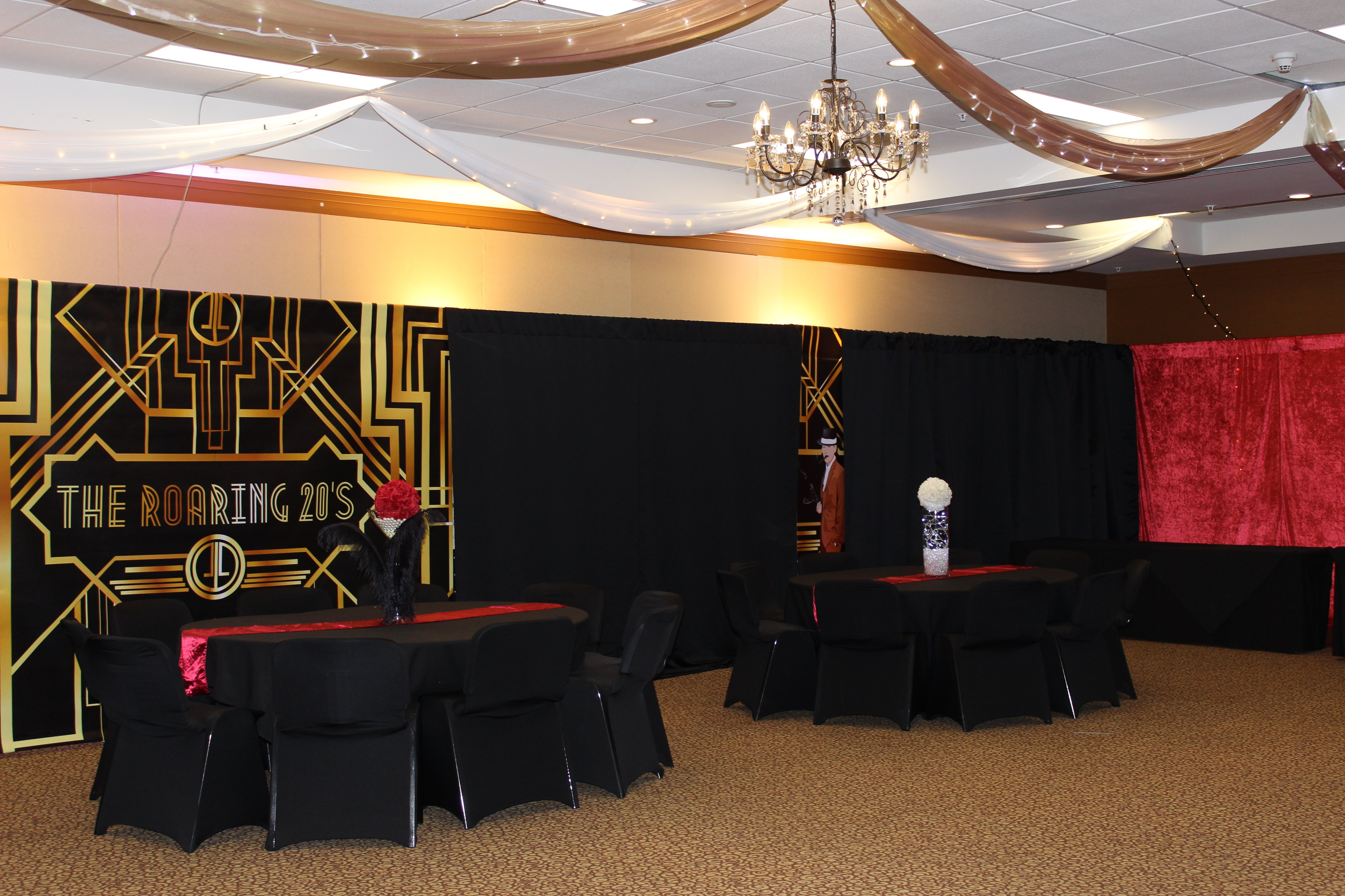 ceiling scenes behind the events hang how event decor sc backdrop to drape and drapes more for greenville diy of