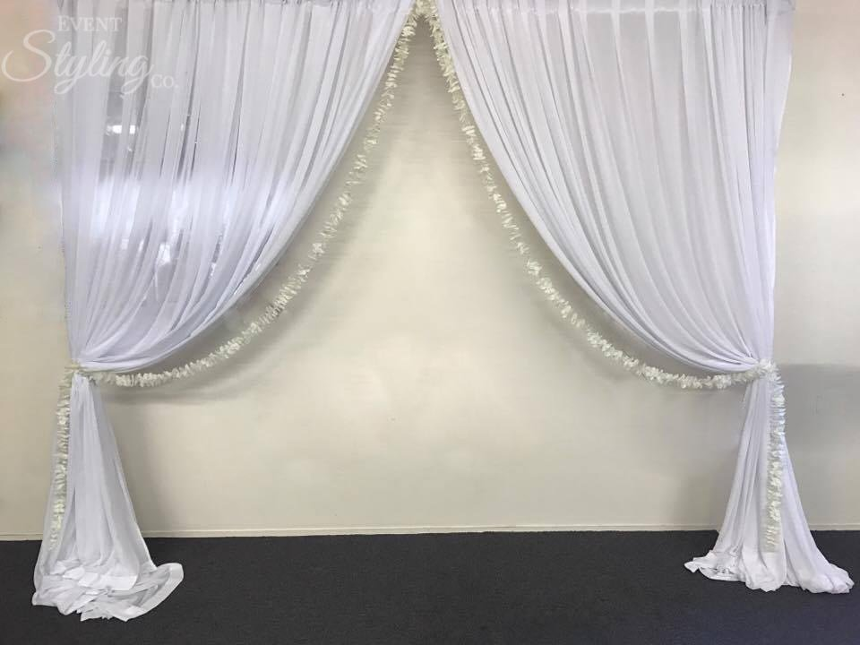 Bespoke coloured wall draping backdrop