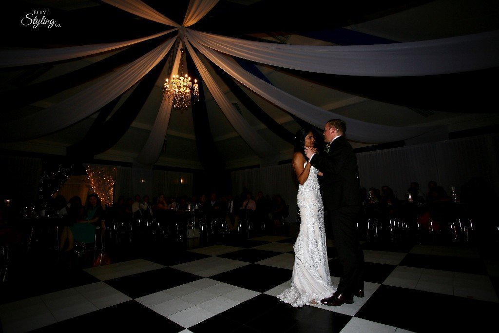 Black and white ceiling draping