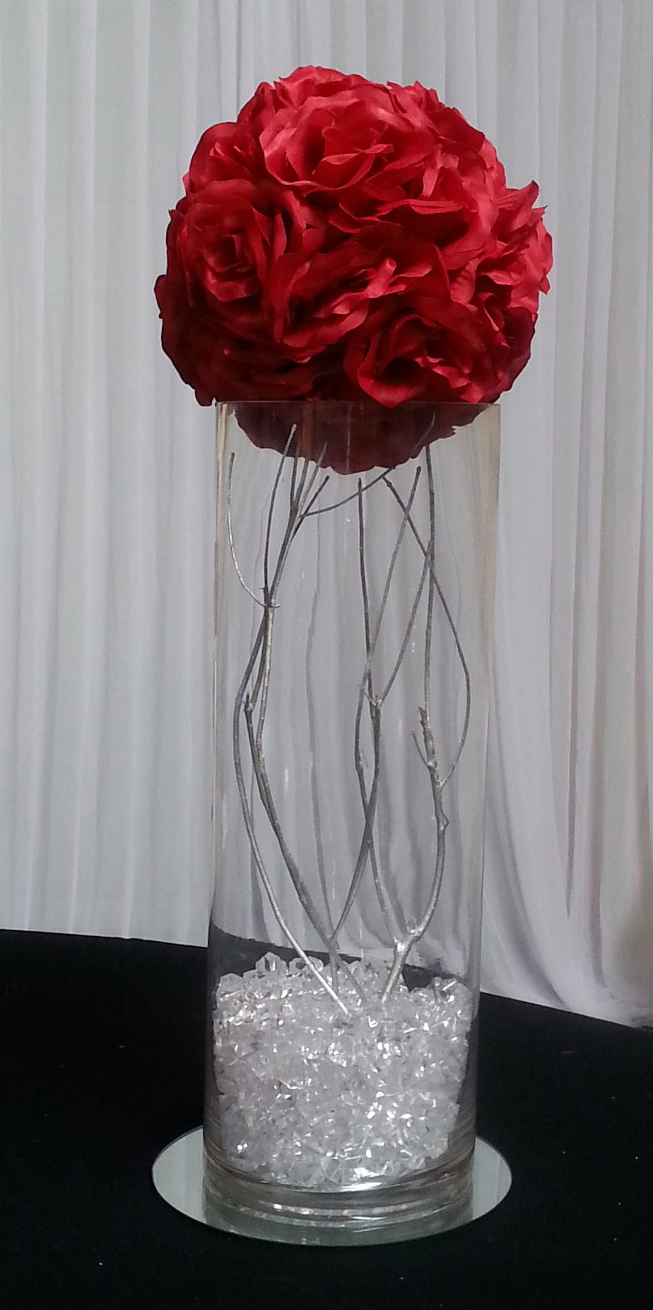 Roseball and Silver twig centrepiece