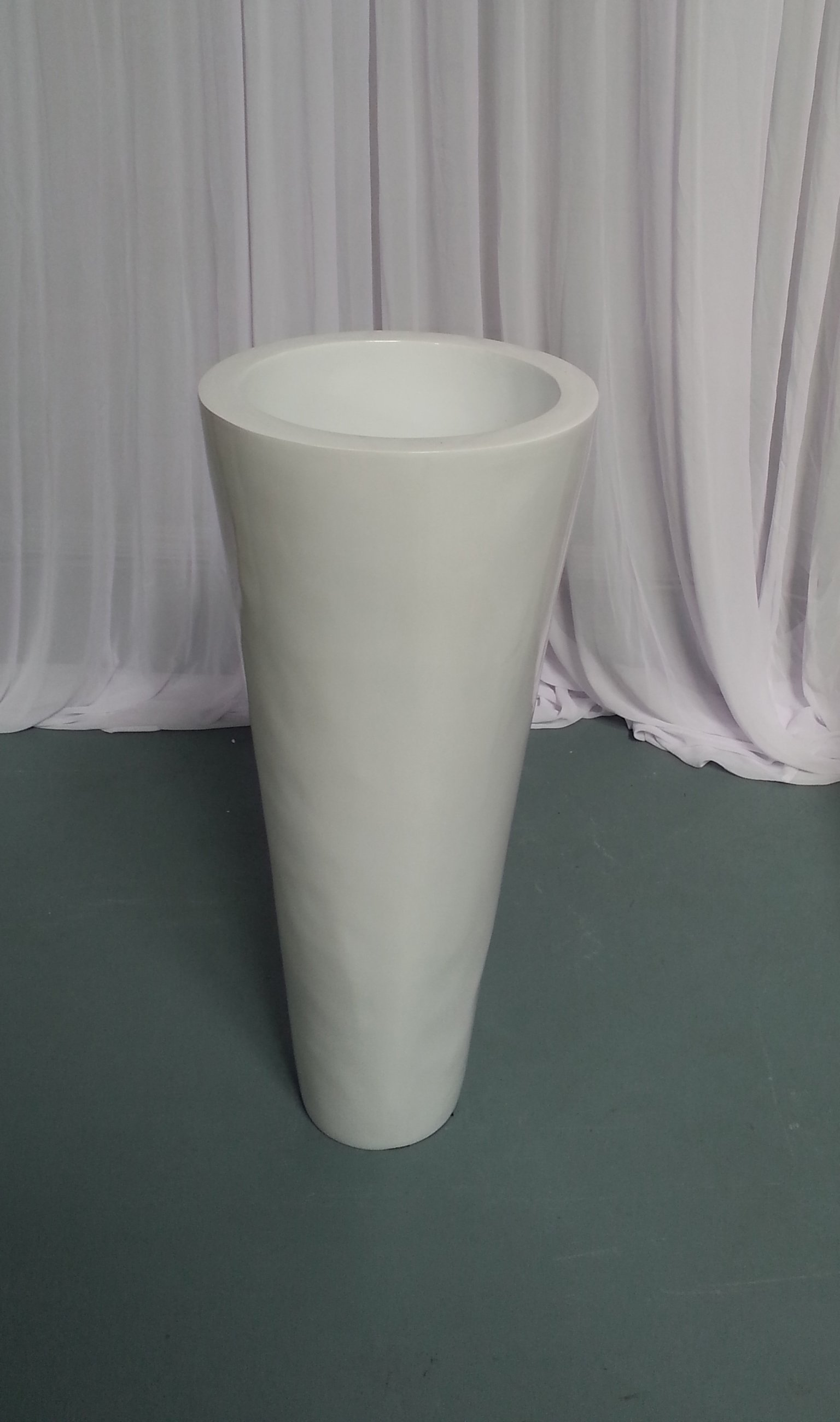 White Gloss Taper Planter Pot 70cm H  x 30cm D hire price $20 incl gst