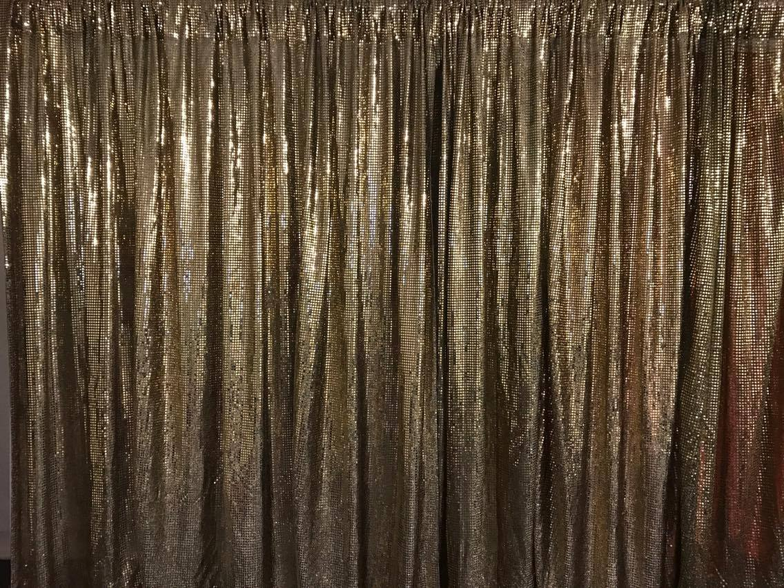 Gold Sequin wall draping 3m wide x 2.4m highHire price from $30 incl frame and gst