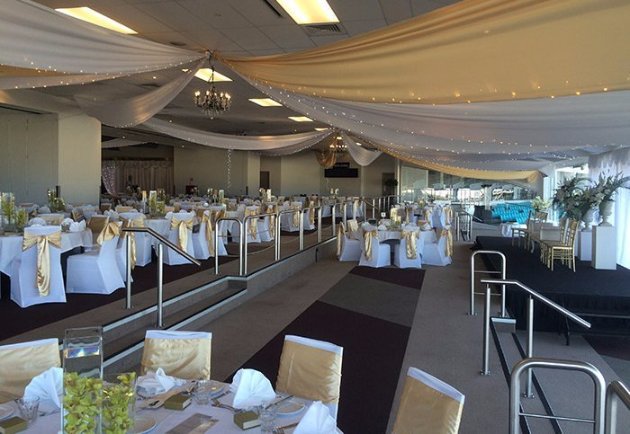 Gold & white ceiling draping at Alexandra Park Auckland