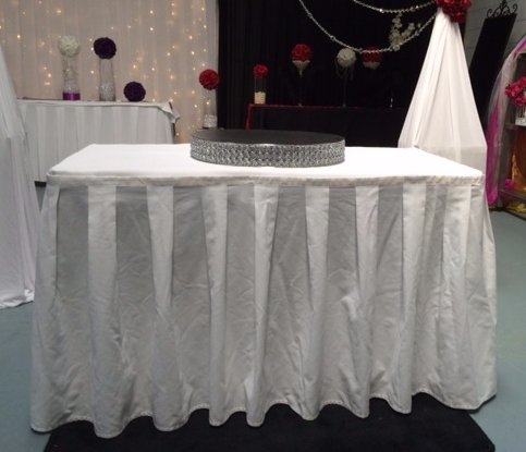 Table 1.2m with table skirt and table cloth