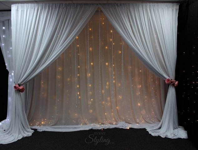 Wedding backdrop with fairy lights