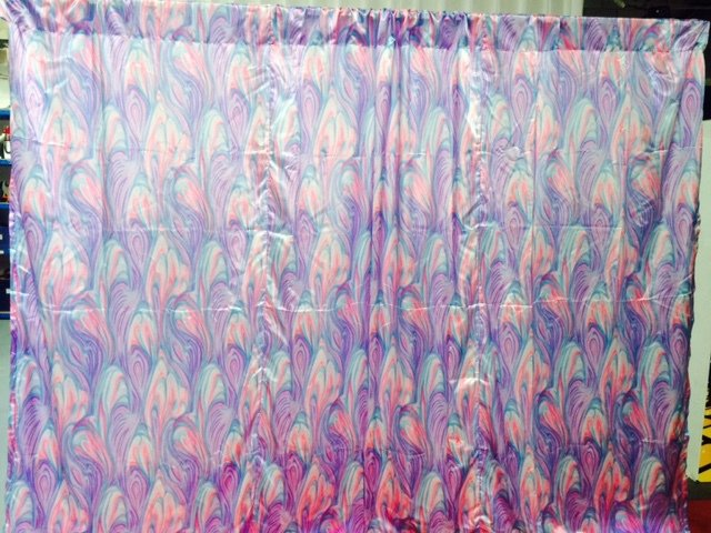 Psychedelic 70s purple wall draping  3m wide x 2.3 high Hire price from $60 Incl frame & gst