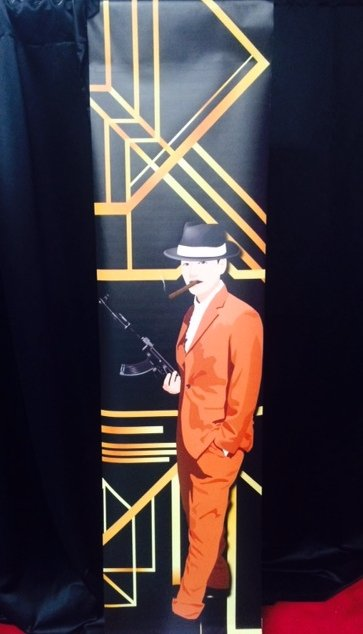 Backdrop Panel 1920s Gangster 2.3m x 0.60m $30 incl gst works in conjunction with our wall drapes